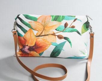 Flower Crossbody Bag, tropical leaves bag, tropical plants bag, leather strap, summer bag, lagut, tropical shoulder bag, flower clutch bag