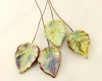 Lampwork Beads, Headpins, Glass Leaf Head Pins,  Headpin on 20Ga Antique Copper Wire, Green, Blue, Brown, Purple, Leaves