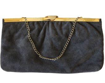Vintage Gray Suede Clutch Purse
