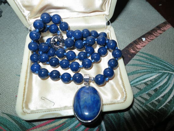 Lovely 8mm Blue Egyptian Lapis Lazuli Gemstone   Oval Pendant Necklace 18""