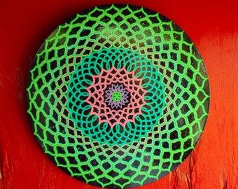 Mandala Painting, Energy Circle, Greens and Blues on Black