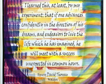 I LEARNED This At Least 11x14 THOREAU Inspirational Success Quote Advance Confidently Motivational Decor Heartful Art by Raphaella Vaisseau