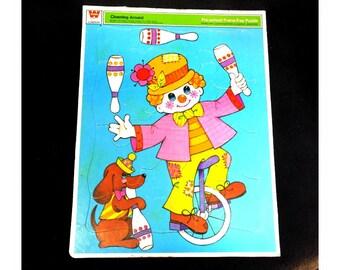 Vintage clown puzzle -vintage circus puzzle - vintage puzzle for children -clown art work -vintage child's puzzle - dated 1973, - # 5