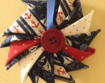 Nautical Pinwheel with Red Button Ornament