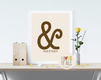 "Modern Love Gift . Graphic Typography Ampersand Print . Personalized You And Me ""&"" Punctuation Symbol Wedding Anniversary . Reception Decor"