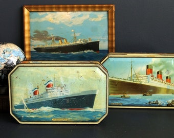 Vintage Queen Mary and SS United States Bensons Candies Tin Set Steamship Candy Box Pair