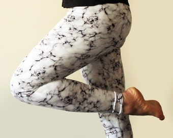 Black and white marble leggings - available in sizes XS, S, M, L, XL and custom sizes  -Kezbirdie