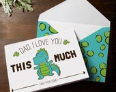 INSTANT DOWNLOAD cute dinosaur Father's Day card print at home t-rex I love you this much funny kids card blue and green dino spots envelope