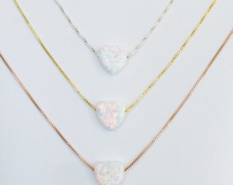 White Necklace, With Opal Heart on a Sterling Silver Box or Link Chain • 6 Chain Lengths to Choose • White Necklace Gift For Bridesmaids