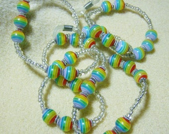 Handmade Eyeglass Lanyard- Bright & Cheerful Rainbow Glass Beads, Glassses Chain, Eyeglass Holder, Colorful by JewelryArtistry - L237