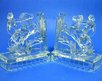 A Pair of Haley American Glass Bookends Nude Woman on Horse