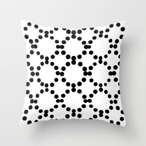 OUTDOOR Throw Pillow . White Outdoor Pillow . Black and White patio cushion . Modern Geometric Pillow Ring Dot . 16 18 20 inch . Lumbar