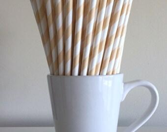 Cream Paper Straws Ivory, Beige, Tan Striped Party Supplies Party Decor Bar Cart Cake Pop Sticks Mason Jar Straws Graduation