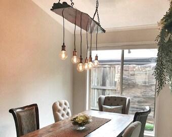 Redgum Timber Slab Chandelier // Vintage Lampholders | Diamond Edison Globes