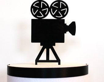 Movie Camera Cake Topper, movie wedding, hollywood wedding, acrylic cake topper, art deco wedding