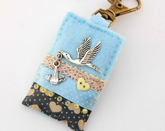 stork and baby present, blue baby bag charm, gift for midwife, nappy bag accessory, blue baby shower, new parents gift, unique newborn gift