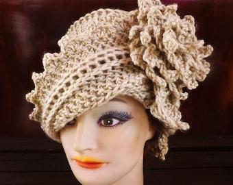 Crochet Cloche Hat 1920s, Womens Crochet Hat, Womens Hat 1920s, Bone Beige Hat, Lauren 1920s Cloche Hat Crochet Flower