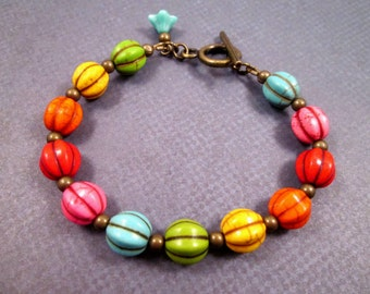 Rainbow Howlite Bracelet, Colorful and Brass Beaded Bracelet, FREE Shipping U.S.