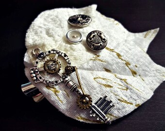 Elegant Frosty White Leafy Hair Clip Fascinator With Jeweled Steampunk Key And Button Embellishments