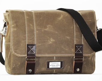 15 inch Waxed Canvas Messenger bag - handmade + leather accents 010073