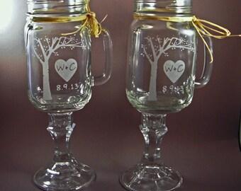 Personalized Redneck Mason Jar Wine Glasses with Blooming Tree - Redneck Wine Glass - Wedding Mason Jars - Wedding Party Glasses