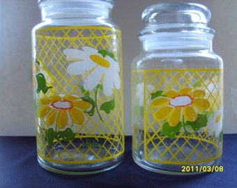 Hildi Glass Jars, Vintage Canisters, Glass Canisters, Hildi Jars with Daisies, Designer Canister, Yellow Daisy Kitchen Aides