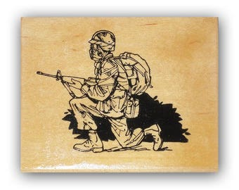 Soldier kneeling mounted rubber stamp, army, marines, marine, USAF, military, troops, Crazy Mountain Stamps #4