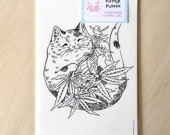 Cannabis Cats Postcard Set of 4 - Cannabis Cat series