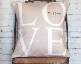 Wedding Gift Cotton Anniversary Gift Personalized Date Pillow Cover