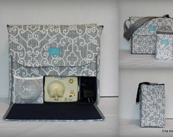 XS Alana style Breast Pump Bag in PP Ramey Lt Gray print