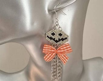 new! stunning earrings halloween Jack woven peyote and Silver 925 9