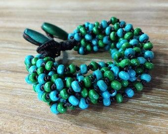 Wood Bead Bracelets, Colored Wooden Bead Bracelet, Womens Wood Bracelet, Boho Chic bracelet