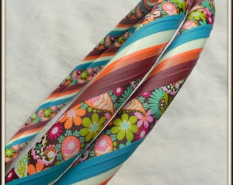 NeW! GLOW Hoop - 'GARDEN GLOW!' - One-Of-A-Kind GLoW In The DaRK Fabric Hula Hoop.