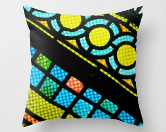 """VITRAIL fenêtre 16 """"X 16"""" taie d'oreiller. Photo d'Art. Multi couleur, motif abstrait. Mod, douce, Cool, Hipster. Art déco. Église. Foi."""