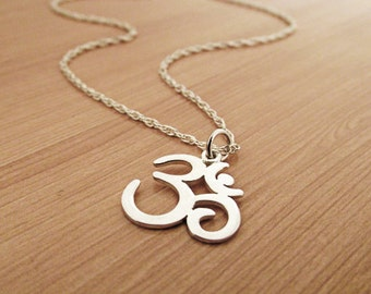 Om Necklace, Ohm Necklace, Sterling Silver Necklace,  Yoga Necklace, Om chain