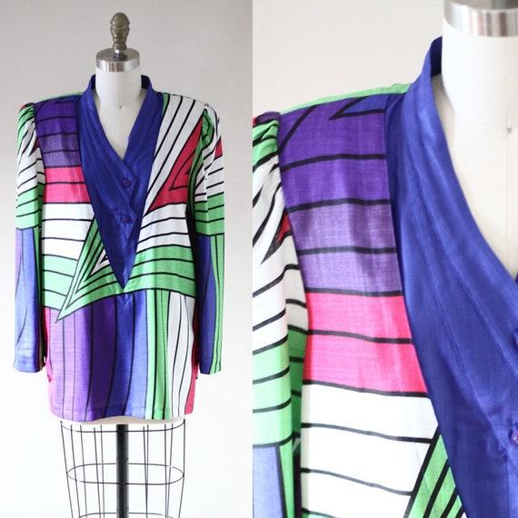 1980s geometric print faux blazer // 1980s pattern blouse // vintage blouse
