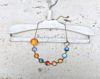 Solar system necklace, planet necklace, cosmos, astrology