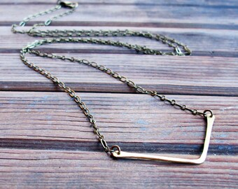 Balance - Brass Metalwork Necklace - Long Bar Necklace - Artisan Tangleweeds Jewelry