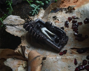 Coyote Tooth & Garnet with Sculpted Mushrooms set in dark Copper - life after death schulpted amulet with garnet gemstones