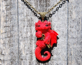 red dragon pendant style jewelry dragon red bronze necklaces fantasy animal fairy dragon gift creature fiery amulet