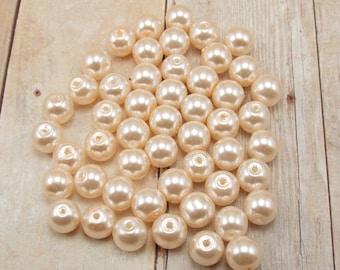 4mm Glass Pearls - Light Peach - Pale Peach - 100 pieces