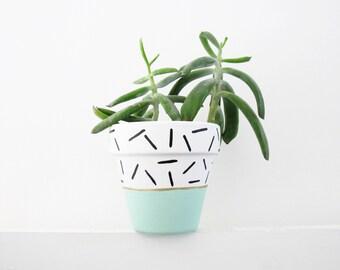 Hand Painted Plant Pot - Mint Dash