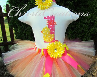 1st Birthday Rubber Ducky Outfit - Baby Girl Cake Smash - Rubber Ducky Birthday Party - 1st Birthday Tutu Set