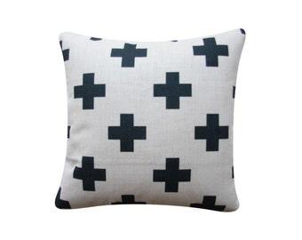 "18"" x 18"" Decorative Pillow Cover Black Cross Scandinavian Minimalist Swiss Cross Cushion Cover Throw Cushion Cover"
