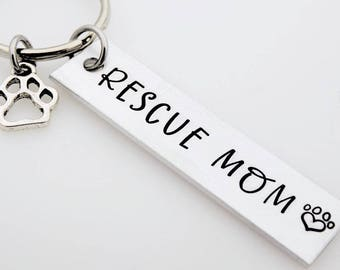 Rescue Mom keychain, can be customized to read something else, animal rescue, pet mom dog mom pet parent adopt don't shop, foster pet