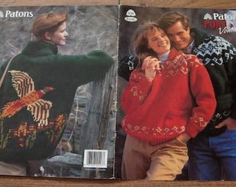 Vintage 1990 knitting patterns men women jackets pullover palamino pheasant snowflake fair isle
