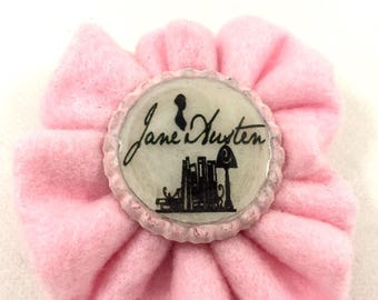 Felt brooch and creative reuse Jane Austen bottle caps