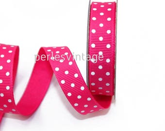 1 m hot pink grosgrain Ribbon 1 cm white dots