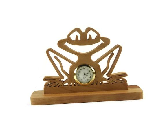 Wooden Frog Desk Clock Handmade From Cherry Wood