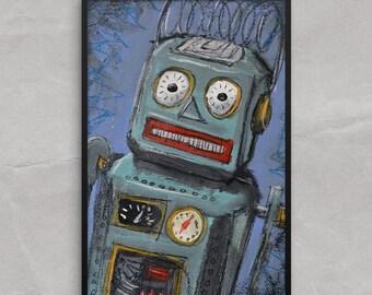 Tin Toy Robot Poster or framed Print, Awkward Tin Toy Robot